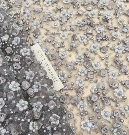 Grey 3D beaded lace fabric. Photo 4