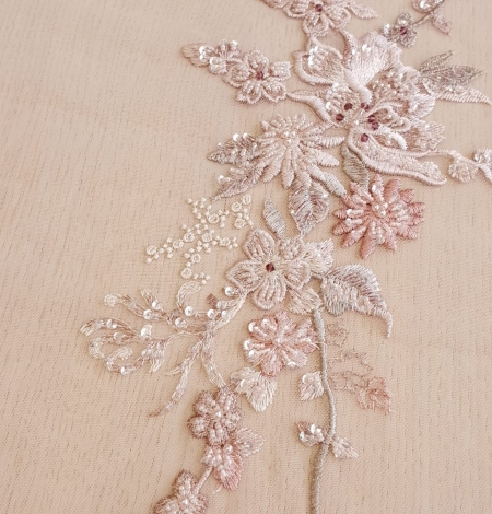 Pink beaded floral lace fabric. Photo 6