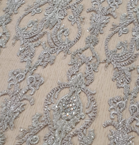 Lilac grey beaded lace fabric. Photo 5