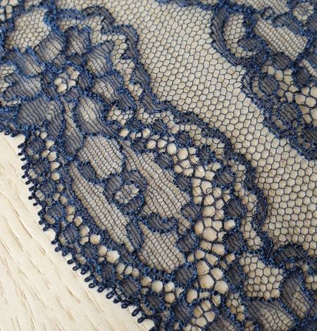 Dark blue elastic chantilly lace trimming. Photo 3