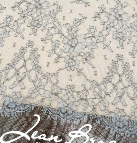 Grey natural chantilly lace fabric by Jean Bracq. Photo 1