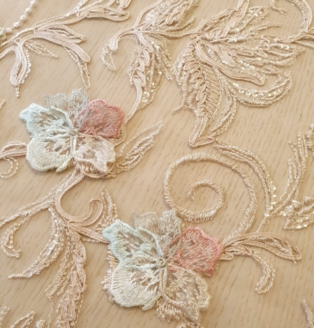 Multicolor floral 3D embroidery on beige tulle fabric. Photo 4