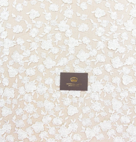 Ivory floral pattern beaded embroidery on tulle fabric. Photo 8