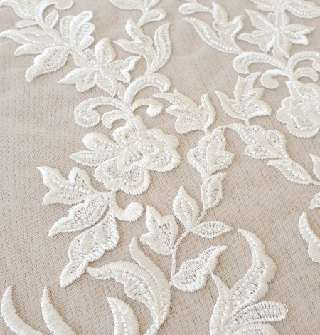 Ivory thick embroidery beaded lace fabric. Photo 2