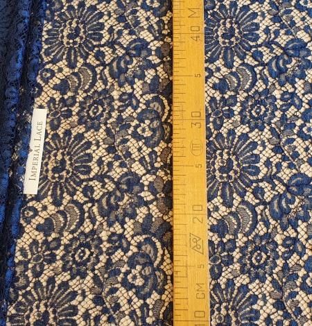 Marine blue chantilly natural lace fabric. Photo 7