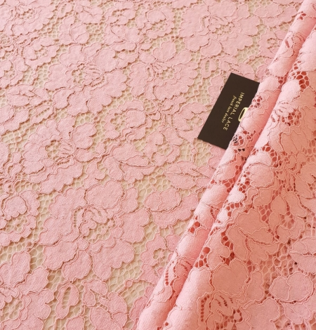 Pink floral guipure lace fabric. Photo 1