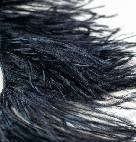 Black soft natural ostrich feather. Photo 5