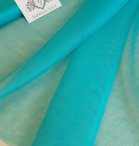 Turquoise silk tulle fabric. Photo 2