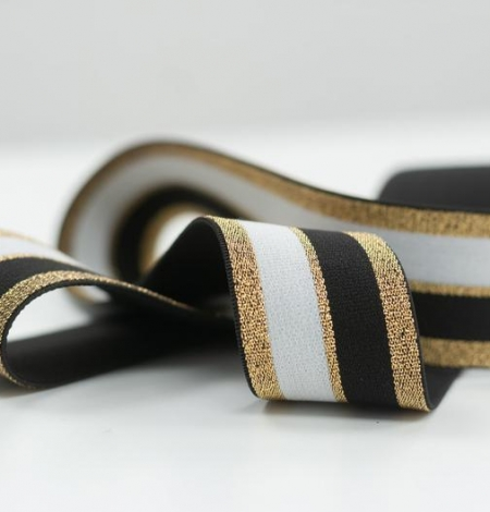 Black with gold and white elastic ribbon. Photo 4