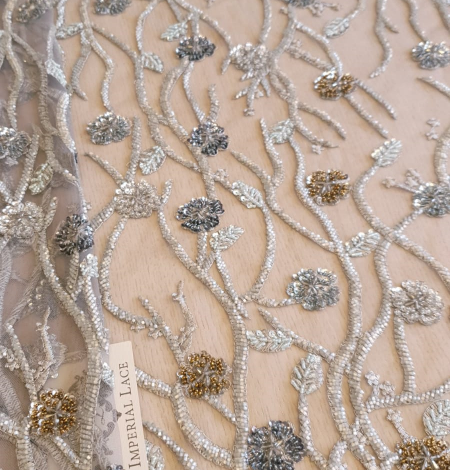 Grey beaded lace fabric. Photo 1