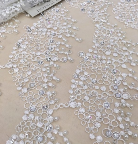 White beaded lace fabric. Photo 2