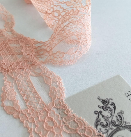 Nude Pink Chantilly lace trim. Photo 1