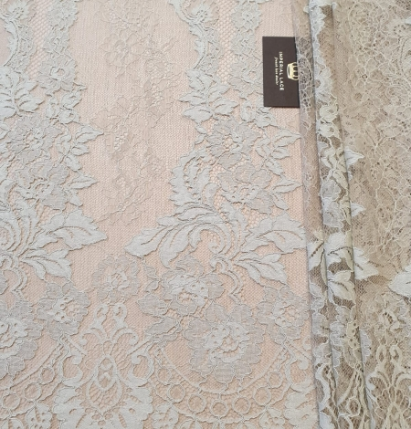 Mint on beige tulle guipure lace fabric. Photo 5