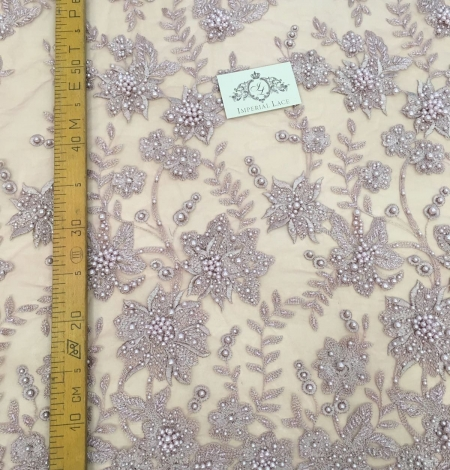 Old rose color flowers lace fabric 3D. Photo 4