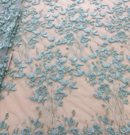 Mint green organic leaf pattern embroidery lace fabric. Photo 8