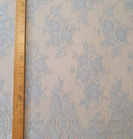 Bluish grey floral pattern chantilly lace fabric. Photo 8