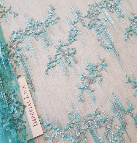 Sea green beaded lace. Photo 1