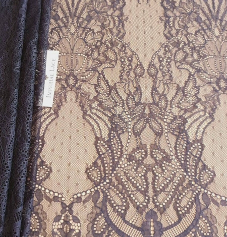 Navy blue lace fabric, French lace fabric. Photo 1