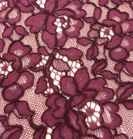 Bordo red floral alencon lace fabric. Photo 2