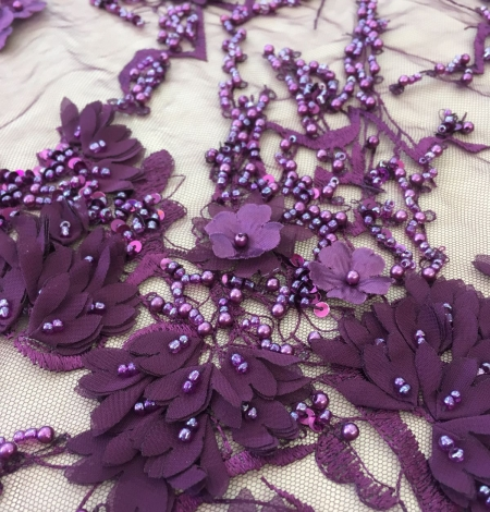 Lilac 3D floral beaded lace fabric. Photo 3