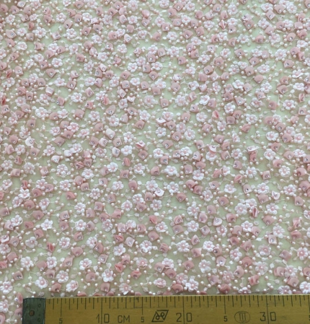 Pink beaded lace fabric. Photo 6