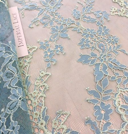 Blue with Green Lace Fabric. Photo 6