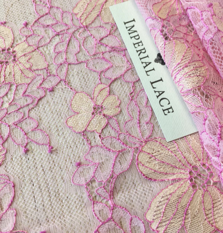 Pink with light yellow lace fabric. Photo 5