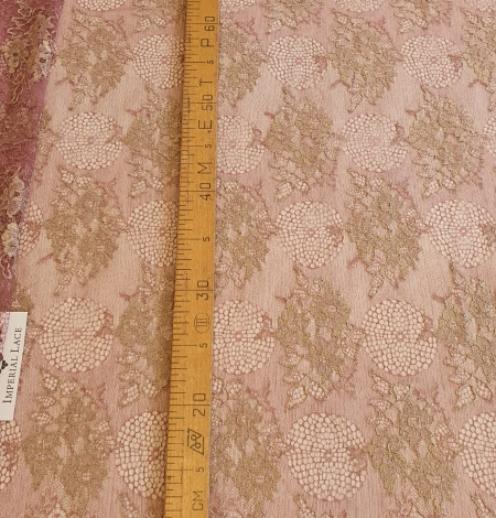 Raspberry red with gold metallic thread natural lace fabric. Photo 5