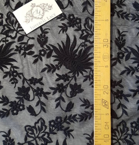 Black embroidery lace fabric. Photo 4
