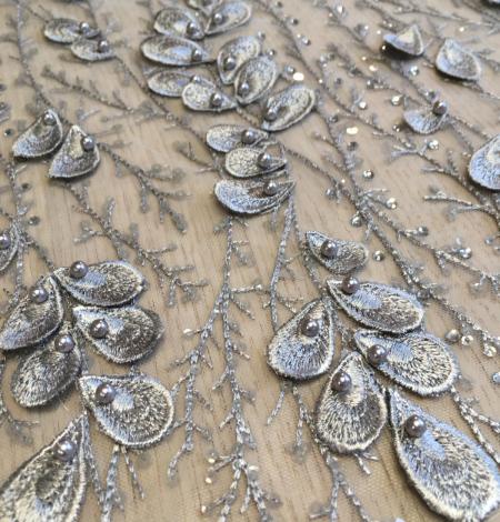 Grey beaded lace fabric. Photo 6