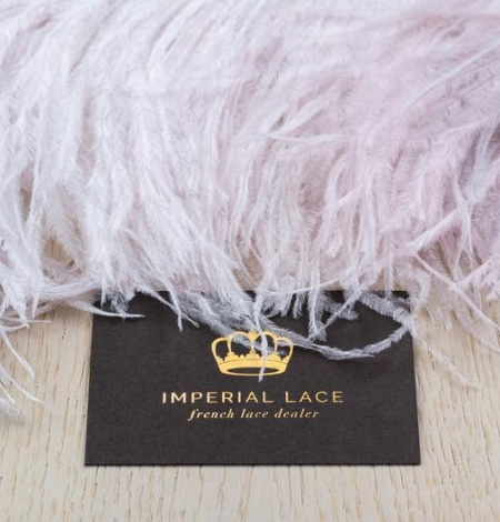 Light pink with grey shade soft natural ostrich feather. Photo 5