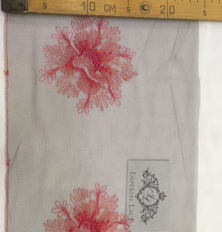Pink embroidery on tulle Chantilly Lace. Photo 5