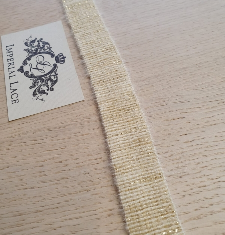 Ivory with gold thread rubber ribbon. Photo 6