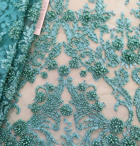 Green flowers lace fabric 3D. Photo 1