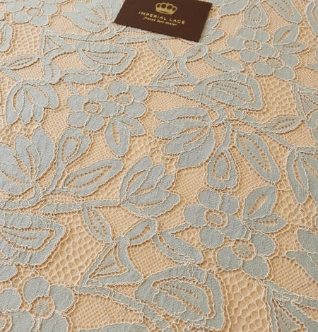 Beige with blue 70% cotton with 30% polyester guipure lace fabric . Photo 2