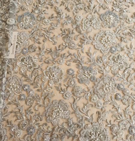 Grayish green beaded lace fabric. Photo 2