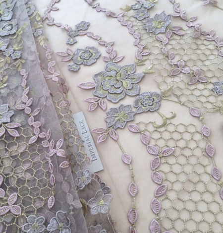 Nude embroidery tulle. Photo 8