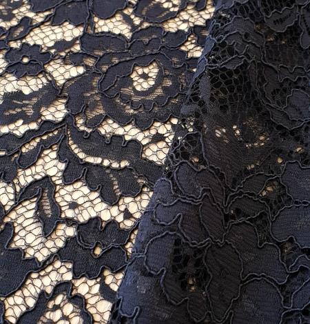 Dark blue guipure lace fabric. Photo 4