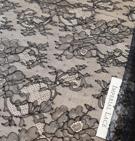 Black elastic chantilly lace fabric. Photo 2