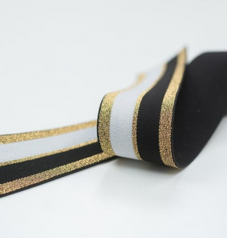 Black with gold and white elastic ribbon. Photo 3