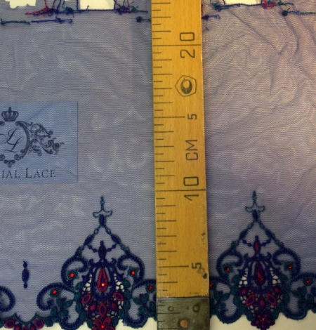 Blue with crystals elastic lingerie lace trim. Photo 4