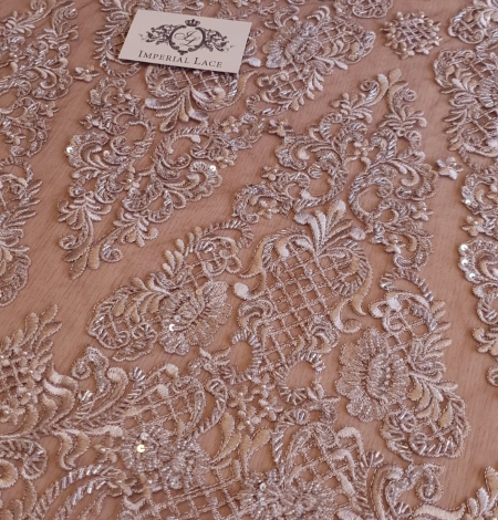 Luxury brown beaded lace fabric. Photo 6