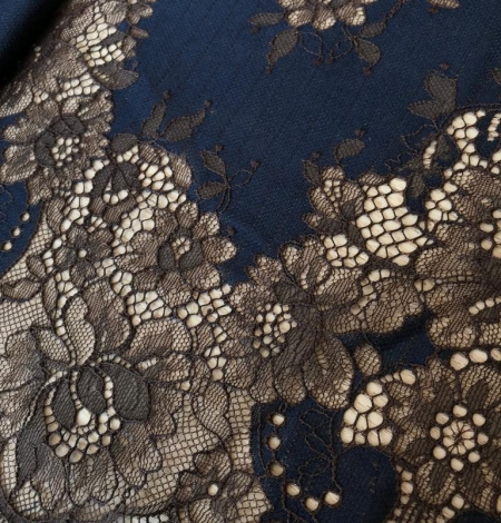 Dark blue with brown flower pattern lace fabric. Photo 3