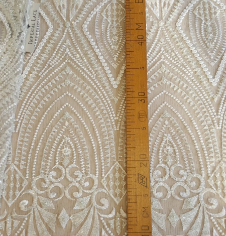 Off white embroidery lace fabric. Photo 5