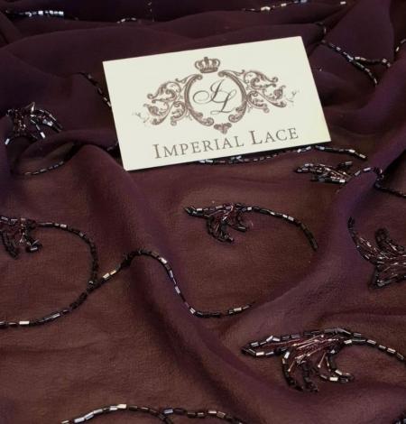 Lilac embroidery on silk chiffon fabric. Photo 1