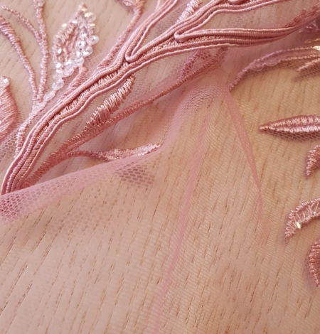 Raspberry pink leaf pattern embroidery with sequins on soft tulle fabric. Photo 3