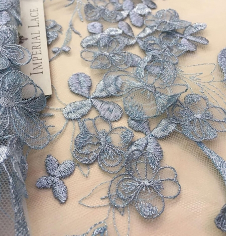 Blue grey flowers lace fabric. Photo 3