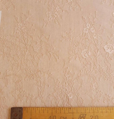 Nude with powder shade chantilly lace fabric. Photo 7