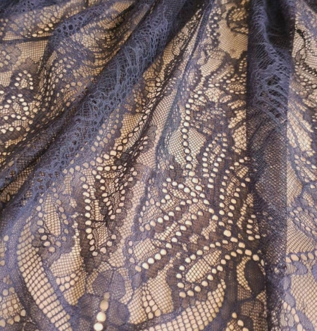 Navy blue lace fabric, French lace fabric. Photo 6