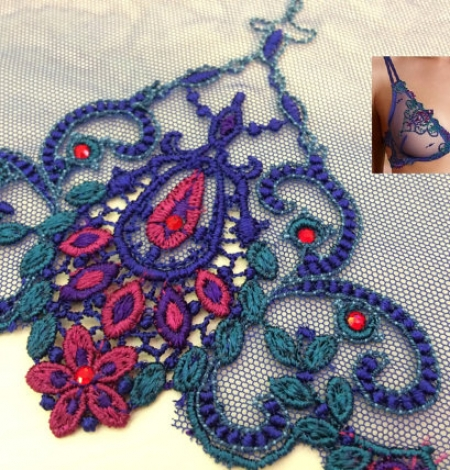 Blue with crystals elastic lingerie lace trim. Photo 1